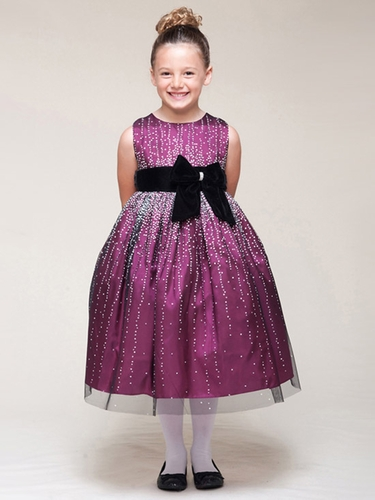 Magenta Sleeveless Shimmery Dress w/ Velvet Bow
