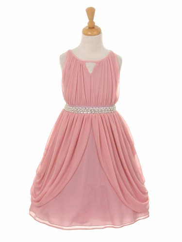 Mauve Chiffon Pleated Pearl Belt Dress