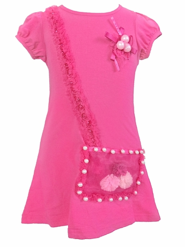 Mia Belle Baby Hot Pink Dress w/ Illusion Purse