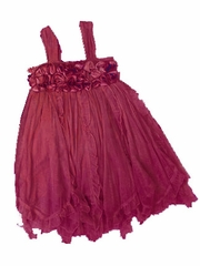 Mimi & Maggie 'Cluster Roses' Burgundy Dress