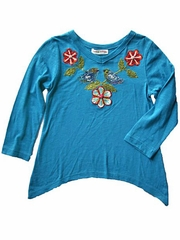 Mimi & Maggie 'Friendly Birds' Cascade Side Knit Top Turquoise