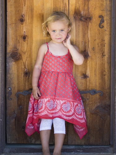 Mimi & Maggie Indigo Bohemian Red Paisley Bandana Dress