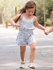 Mimi & Maggie Provence Collection Blue Daisy Romper