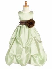 Mint Blossom Shantung Organza Dress w/Detachable Sash & Flower