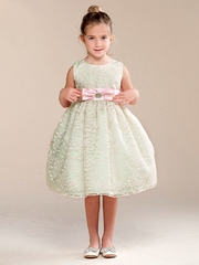 Mint Bow Brooch Accent Flower Girl Dress