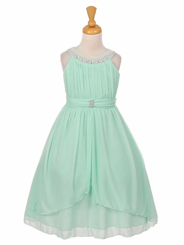 Mint Chiffon Pleated Jeweled Neckline Dress