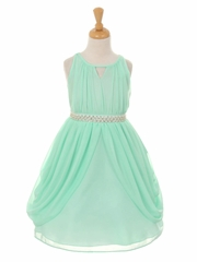 Mint Chiffon Pleated Pearl Belt Dress
