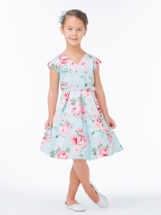 Mint Floral Crossover Dress