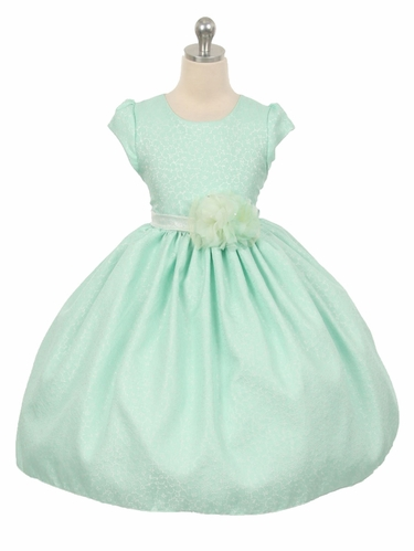 Mint Floral Jacquard Cap Sleeve Dress