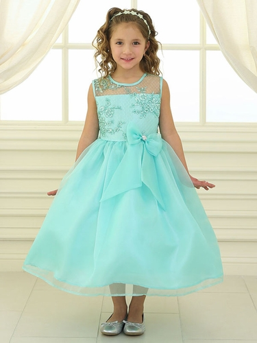 Mint Lace Flower Bodice Dress w/ Ribbon