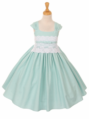Mint Linen and Lace Dress