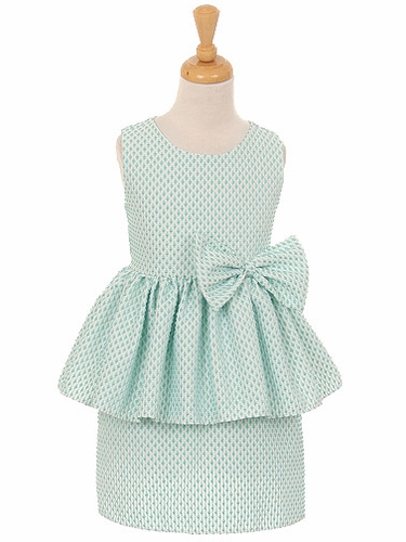 Mint Petite Polka Dot Jacquard Peplum Dress w/ Bow