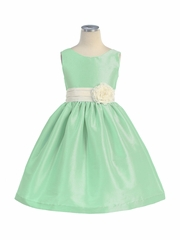 Mint Poly Silk V-Back Dress