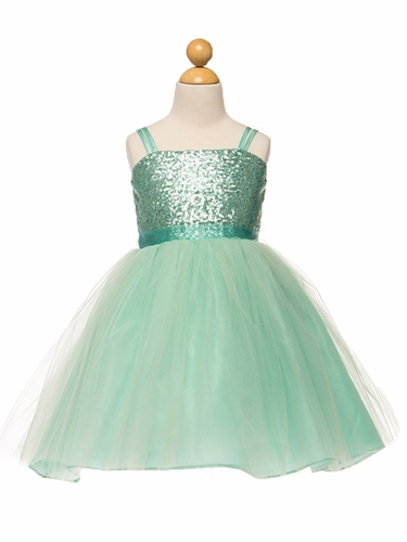 Mint Sequined Bodice w/ Tulle Skirt & Sash