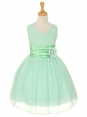 Mint Yoryu Chiffon Double V-Neck Dress