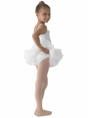 Mirella White Ruffled Cami Tutu Leotard