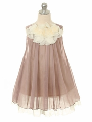 Mocha Chiffon Dress w/ Ivory Flower Neckline