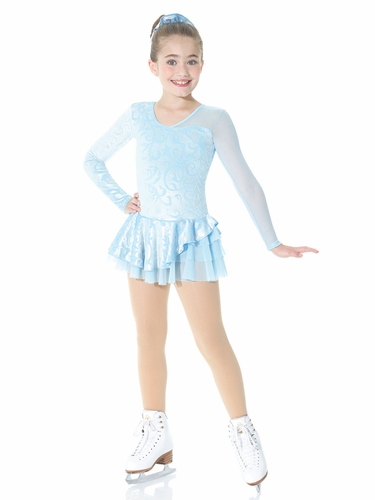 Mondor Ice Blue Mesh Sleeve Fantasy On Ice Dress