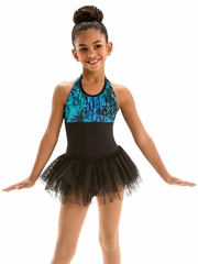 Motionwear Bayou Charms Pleated Halter Front Tutu Leotard