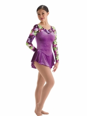 Motionwear Laserlight Fuchsia w/ Purple & Lime Sweetheart Long Sleeve Skate Dress