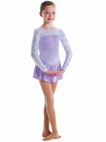 Motionwear Lilac & White Sequins/Velour 2 Tone Long Sleeve Curve Yoke Skirted Leotard