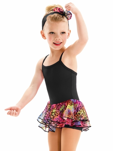 Motionwear Lucky Animal Print Black Skirted Biketard