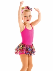 Motionwear Lucky Animal Print Hot Pink Skirted Biketard