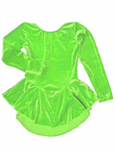 Motionwear Neon Lime Velour Long Sleeve Skirted Leotard
