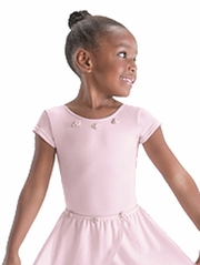 Motionwear Pink Bow Back Cap Sleeve Leotard