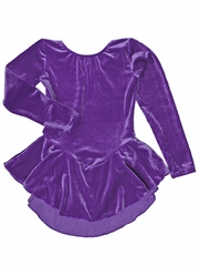 Motionwear Purple Lava Velour Long Sleeve Skirted Leotard