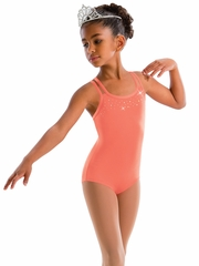 Motionwear Sparkle In Diamante Coral Rhinestone 4 Strap Cami Bow Back Leotard
