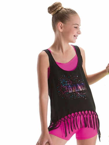 Motionwear Streetwear Dance Fringe Tank w/ Spangle Rhinestones
