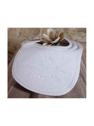 """My Godmother Loves Me"" Christening Bib"