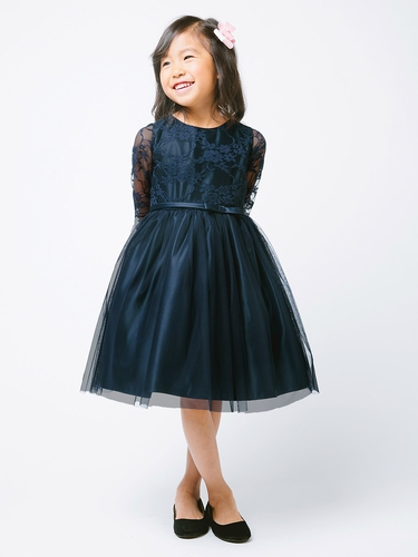 Navy 3/4 Lace Sleeve Ballerina Dress