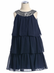 Navy 3-Tier Chiffon Sequins Dress