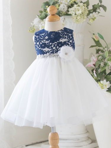 Navy Baby Tulle Dress w/ Floral Lace Bodice