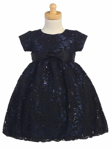 Navy & Black Lace Dress