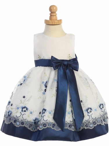 Navy Embroidered Organza Dress w/ Taffeta Waistband & Bow