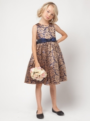 Navy Gold Floral Lace Dress
