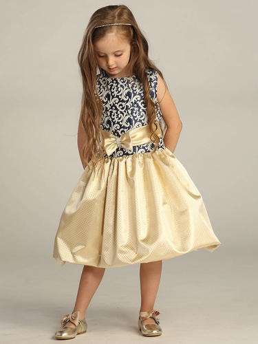 Navy Jacquard Top w/ Gold Skirt & Bow