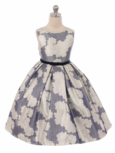 Navy Metallic Floral Jacquard Dress w/ Velvet Waist