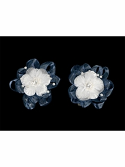 Navy Organza Flower Hair Clip w/ Stone