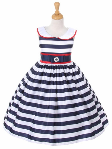 Navy Peter Pan Collar Striped Dress w/ Ribbon Waist & Red Accents
