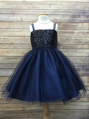 Navy Sequined Bodice w/ Tulle Skirt & Sash