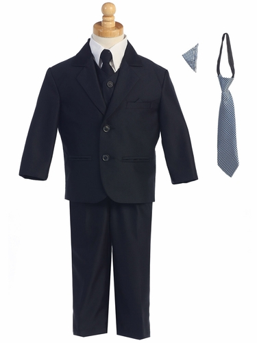 Navy Two-Button Herringbone Pattern Suit
