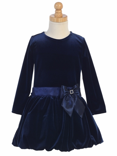 Navy Velvet Bubble Dress w/ Glitter Trim & Bow