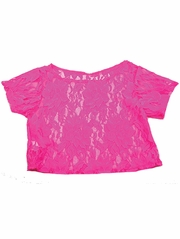 Neon Pink Lace Cover Top