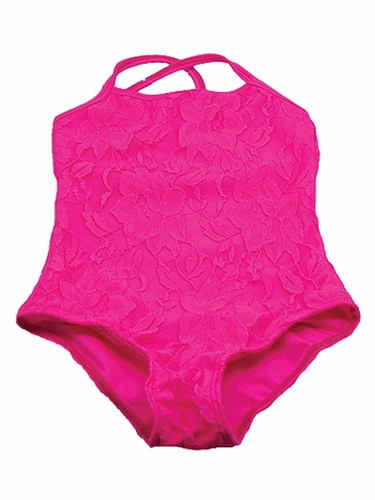 Neon Pink Lace Leotard