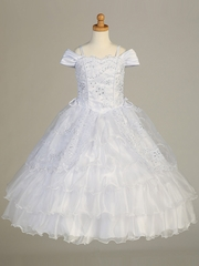 Off Shoulder Organza Sweetheart Dress w/ Sequins Embroidery