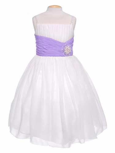 Off-White Chiffon Pleat & Pearl Dress w/ Lilac Sash